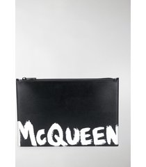 alexander mcqueen paint style logo clutch bag