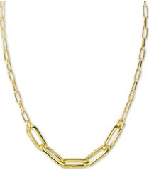 "argento vivo paperclip link statement necklace in 18k gold-plated sterling silver, 16"" + 2"" extender"