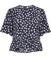 tjw printed peplum top blouses short-sleeved blå tommy jeans