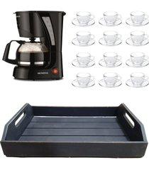 kit 1 cafeteira mondial 110v, 12 xícaras 90 ml com pires e 1 bandeja em mdf preto - tricae