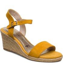 woms sandals sandalette med klack espadrilles gul tamaris