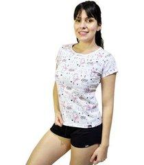 pijama conjunto camiseta gato e short feminino - feminino