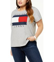 tommy hilfiger plus size cotton logo t-shirt, created for macy's