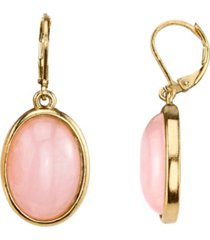 2028 14k gold-dipped semi-precious rose quartz pink oval drop earrings