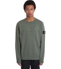 stone island sweatshirt in green cotton