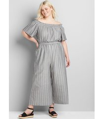 lane bryant women's convertible off-the-shoulder shirred jumpsuit 24 gray stripe