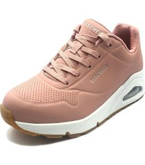 tenis lifestyle skechers uno stand on air - rosa