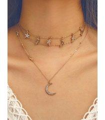 oro de ocho puntas estrella y luna colgante collar de múltiples capas