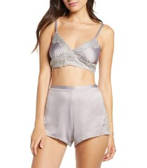 women's rya collection artisan bralette & shorts set, size x-small - purple