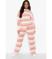 petite gebreide ombre set met broek, light pink
