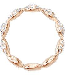 anillo angelic, blanco, baño de oro rosa