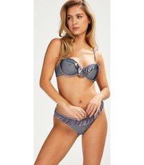 hunkemöller rio bikiniunderdel ruffle stripe blå