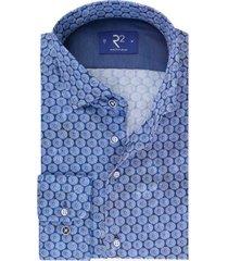 r2 shirt mouwlengte 7 kobalt geprint