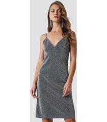 na-kd party glittery slip dress - silver