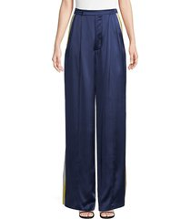 alexis women's nicoli sports stripe silk pants - sterling navy - size xs