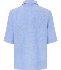 blouse van 100% linnen met halflange mouwen van day.like blauw