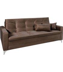 sofá cama 3 lugares facility reclinável império estofados marrom