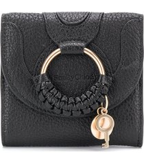 see by chloé embroidered fold wallet - black