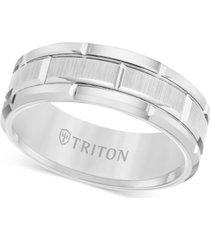 triton men's ring, 8mm wedding band in white or black tungsten