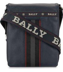 bally embroidered logo messenger bag - blue