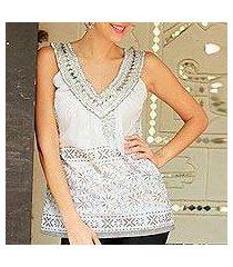 cotton blouse, 'silver sparkle' (india)