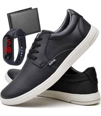 tãªnis sapatãªnis casual fashion com carteira e relã³gio led fine masculino dubuy 1401el preto - preto - masculino - sintã©tico - dafiti