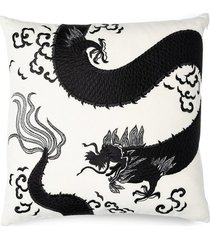 natori mayon dragon embroidery pillow case, cream/black natori