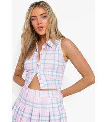 pastel geruite crop top met kraag en tennis rok, pink