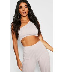 ribbed one shoulder crop top, grey