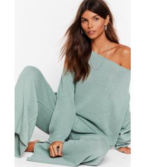 womens thats knit off the shoulder sweater & pants set - sage