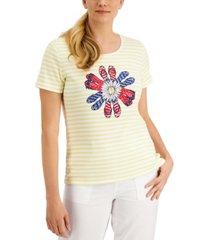 karen scott striped embellished scoop-neck graphic top, created for macy's