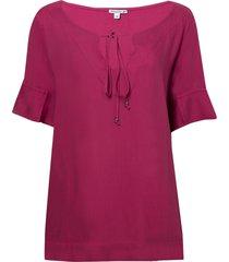 blusa dudalina manga curta decote v feminina (rosa escuro, 44)