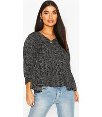 petite mini polka dot volume sleeve smock top, black