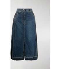 sacai panelled denim pleated skirt