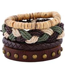 bracciale in pelle di vacchetta intrecciata a tessitura bohémien per uomo