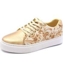 tãªnis sapatãªnis shoes grand em tecido e couro dourado - dourado - feminino - tecido - dafiti