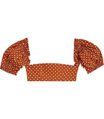 weworewhat women's polka dot cotton cropped top - polka dots - size l