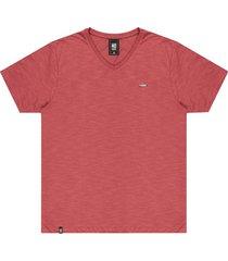 """camiseta flamê decote v"""" plaquinha no stress vermelha"""" - kanui"""
