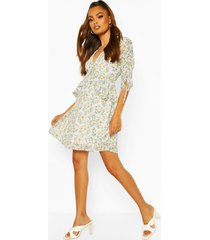 frill detail floral ruched sleeve skater dress, sage