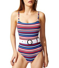 solid and striped women's the nina belted one-piece swimsuit - blue red - size xs