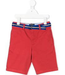 ralph lauren kids contrast belt chino shorts - red