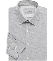 canali men's modern-fit graph check dress shirt - grey - size m