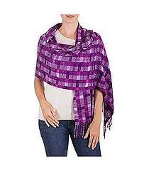 rayon shawl, 'purple weave' (guatemala)