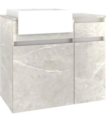 conjunto p/ banheiro c/ espelheira tecla tomada led e gabinete c/ cuba cora 80cm mb bosi cinza - cinza - dafiti