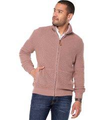 sweater palo rosa 45 preppy m/l c/alto abi cremallera t.grueso acanalado