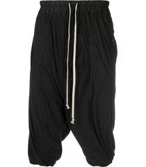 rick owens drkshdw drop-crotch shorts - black