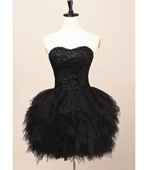 stunning short black tulle mini ruffles homecoming dress/cocktail/party dresses