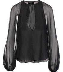 black silk chiffon catrine blouse