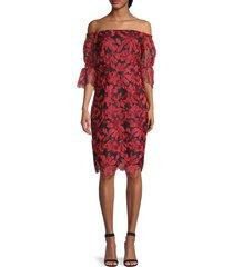 trina turk women's off-the-shoulder floral dress - red - size 2