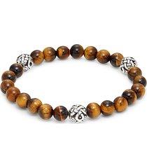 saks fifth avenue men's sterling silver & tiger's eye beaded stretch bracelet